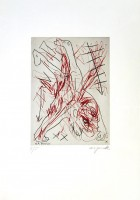 A.R. Penck | Jetset 5 Handstand | Etching available for sale on www.kunzt.gallery