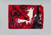 A.R. PENCK | Kleiner Hirsch VI (Little stag) | Silkscreen available for sale on www.kunzt.gallery