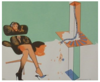 Allen JONES | Young woman contemplating sculpture | Lithograph available for sale on www.kunzt.gallery