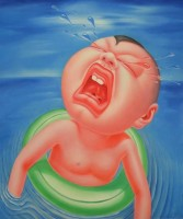 Yin Jun | Crying Series - Swimming | Oil on canvas available for sale on www.kunzt.gallery