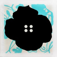Donald Sultan | Button Flower Aqua | Silkscreen available for sale on www.kunzt.gallery
