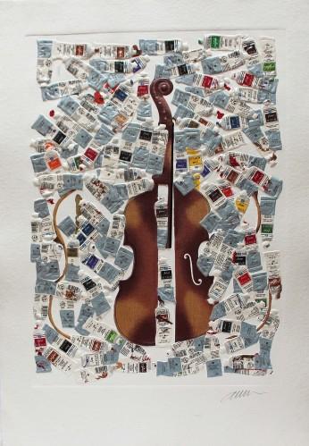 Fernandez ARMAN | Tubes et violin | Etching available for sale on www.kunzt.gallery