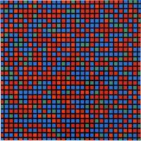 Francois MORELLET   Chartres bleu rouge   Silkscreen available for sale on www.kunzt.gallery