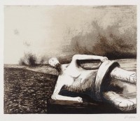 Henry Moore | Male figure in landscape C.470 | undefined available for sale on www.kunzt.gallery
