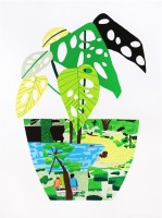 Jonas Wood | Landscape Pot with Plant | Screen-print available for sale on www.kunzt.gallery