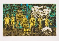 Jorg IMMENDORF | Rakes Progress Grün | Linocut available for sale on www.kunzt.gallery