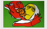 Karel APPEL | Putting green kiss | Silkscreen available for sale on www.kunzt.gallery