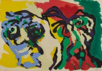 Karel APPEL | Two Flowering Heads | Serigraph available for sale on www.kunzt.gallery