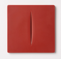 Lucio FONTANA | Concetto Spaziale (Rosso) | Plastic available for sale on www.kunzt.gallery