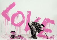MR BRAINWASH | All You Need Is Love (Pink) | Serigraph available for sale on www.kunzt.gallery
