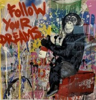 MR BRAINWASH | follow your dreams | Mixed Media available for sale on www.kunzt.gallery