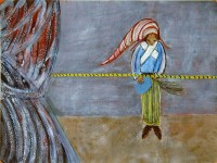 Robin Winters | Curtain, man with pointed cap, rope | undefined available for sale on www.kunzt.gallery