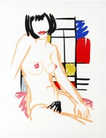 Tom WESSELMANN | Monica sitting with Mondrian | Screen-print available for sale on www.kunzt.gallery