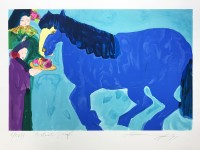 Walasse TING | Blue horse | Screen-print available for sale on www.kunzt.gallery