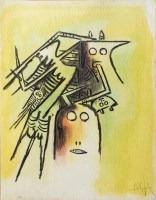 Wifredo LAM | Elle, casqué, from Pleni Luna | Lithograph available for sale on www.kunzt.gallery