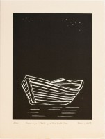 Zarina HASHMI | Rohingyas Floating On The Dark Sea | Woodcut available for sale on www.kunzt.gallery